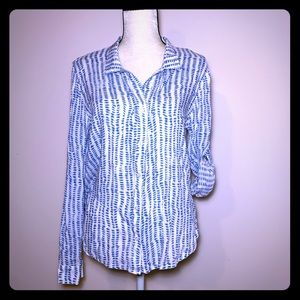 Cloth & Stone Size M White Blue Speckled Shirt